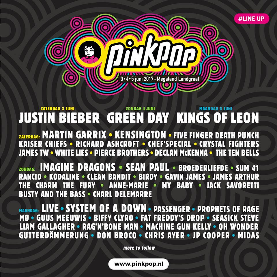 Line-up pinkpop 2017